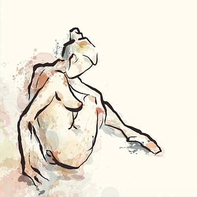 Daydreams Art Digital Art - Daydream Seated Nude by Alison Schmidt Carson