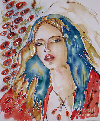 Painting - Daydreaming Valentine Girl by Mona Mansour Jandali