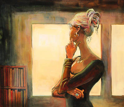 Contemplating Painting - Daydreaming by Sue  Darius