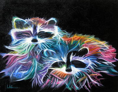 Art Print featuring the painting Dayglow Raccoons by LaVonne Hand