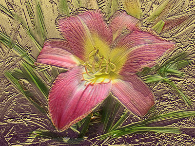 Mixed Media - Daylily In Gold Leaf by Steve Karol