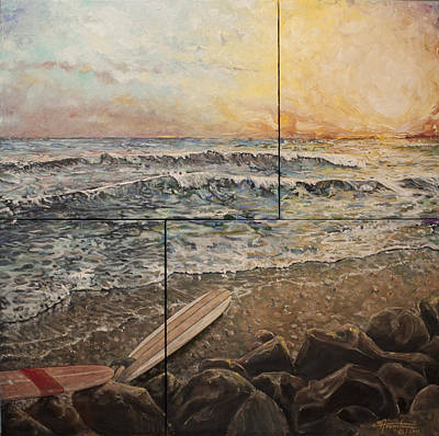 Catch A Wave Painting - Days End by C Michael French