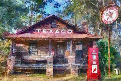 Texaco Sign Painting - Days Gone By by Lynne Jenkins