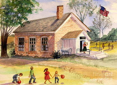 Old School House Painting - Days Gone By by Marilyn Smith