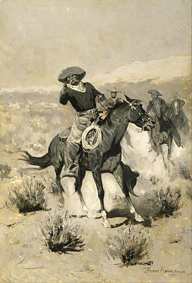 Beautiful Cowboy Art Painting - Days On The Range by Frederic Remington