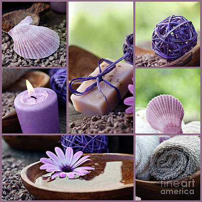 Dayspa Violet Collage Art Print by Mythja  Photography