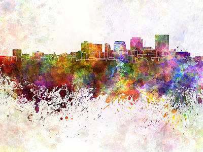 Ohio Painting - Dayton Skyline In Watercolor Background by Pablo Romero