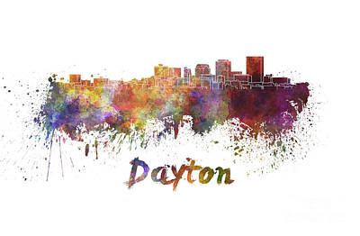 Ohio Painting - Dayton Skyline In Watercolor by Pablo Romero