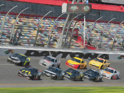 Mixed Media - Daytona 500 by Dennis Buckman