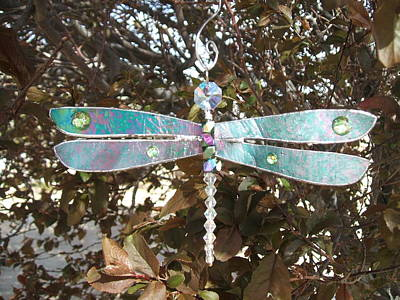 Glass Dragonfly Glass Art - Dazzling Dragonfly Suncatcher Ornament In Iridescent Green-teal  by Wendy Wehe-Ballone