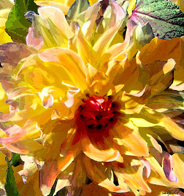 Dazzling Yellow Dahlia Art Print by Michele Avanti