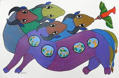 Gond Art Painting - Db 217 by Durga Bai