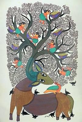 Durga Bai Painting - Db 258 by Durga Bai