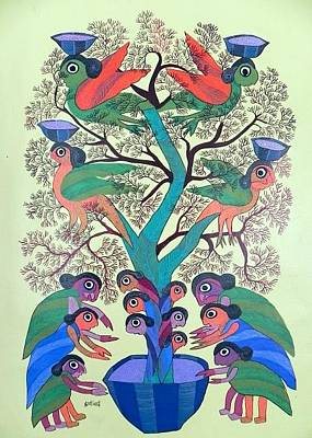 Gond Painting - Db 261 by Durga Bai