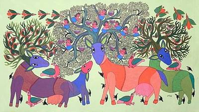 Durga Bai Painting - Db 262 by Durga Bai