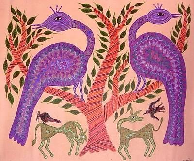 Indian Tribal Art Painting - Dbb 17 by Dubu Bariya Bhil