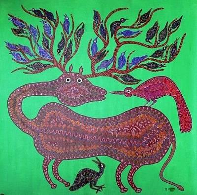 Indian Tribal Art Painting - Dbb 18 by Dubu Bariya Bhil