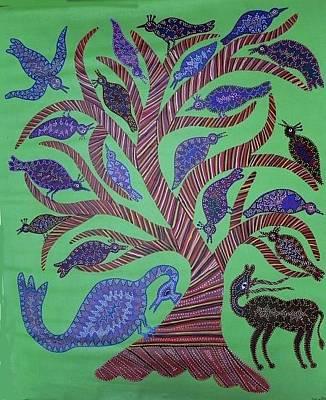 Indian Tribal Art Painting - Dbb 19 by Dubu Bariya Bhil