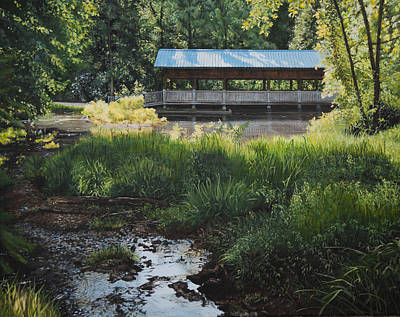 Covered Bridge Painting - D.c. Park Covered Bridge by Emily Land