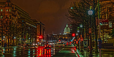 Washington D.c Digital Art - D.c. Traffic by Torrey McNeal