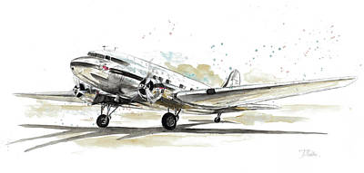 Plane Painting - Dc3 Airplane by Patricia Pinto