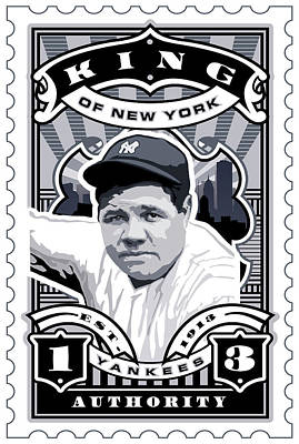 Babe Ruth Digital Art - Dcla Babe Ruth Kings Of New York Stamp Artwork by David Cook Los Angeles