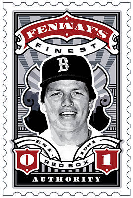Red Sox Tickets Digital Art - Dcla Carlton Fisk Fenway's Finest Stamp Art by David Cook Los Angeles