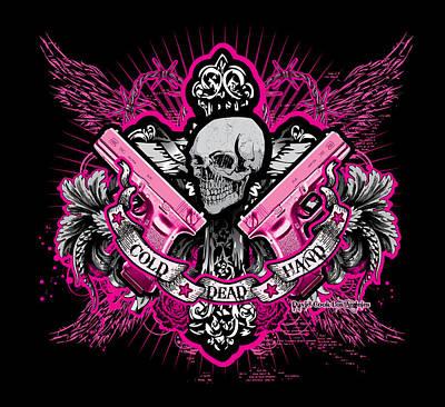 Dcla Cold Dead Hands Skull Cross 1911 Pink Art Print by David Cook Los Angeles