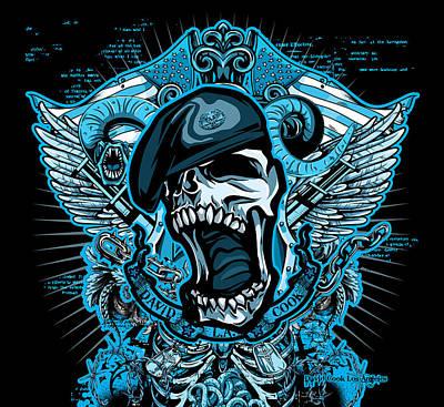 Dcla Designed Skull Combat Medic Art Print by David Cook Los Angeles