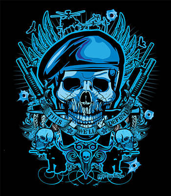Dcla Designed Skull This We'll Defend Art Art Print