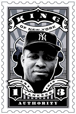 Hall Of Fame Digital Art - Dcla Elston Howard Kings Of New York Stamp Artwork by David Cook Los Angeles