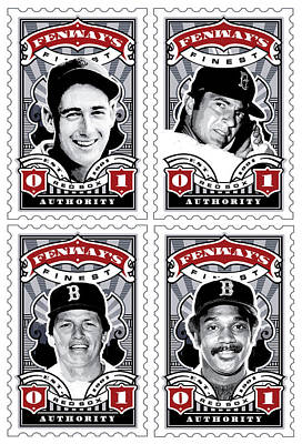 Carl Yastrzemski Art Digital Art - Dcla Fenway's Finest Combo Stamp Art by David Cook Los Angeles