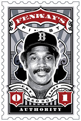 Bosox Digital Art - Dcla Jim Rice Fenway's Finest Stamp Art by David Cook Los Angeles