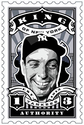 Babe Ruth Digital Art - Dcla Joe Dimaggio Kings Of New York Stamp Artwork by David Cook Los Angeles