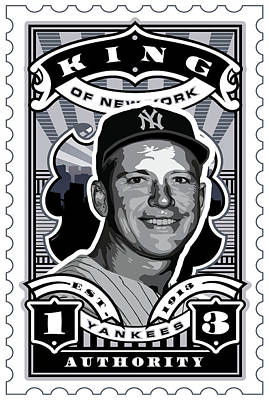 Babe Ruth Digital Art - Dcla Mickey Mantle Kings Of New York Stamp Artwork by David Cook Los Angeles