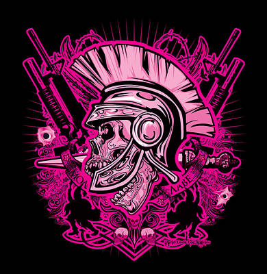 Dcla Skull Centurion Molan Labe Pink Art Print by David Cook Los Angeles