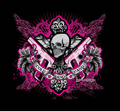 Dcla Skull Cross Cold Dead Hand Pink Art Print by David Cook Los Angeles