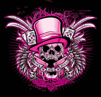 Dcla Skull Glock And Roll Pink Art Print
