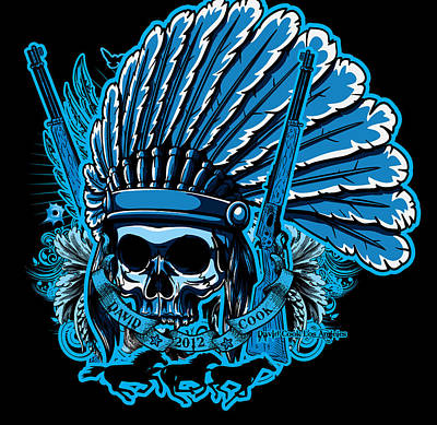Dcla Skull Indian Chief Art Print by David Cook Los Angeles