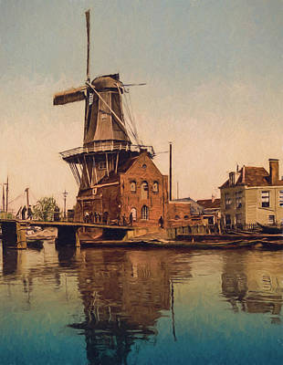 Horse And Buggy Painting - De Adriaan Windmill by John K Woodruff