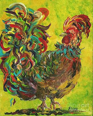 Crow Painting - De Colores Rooster #2 by Eloise Schneider