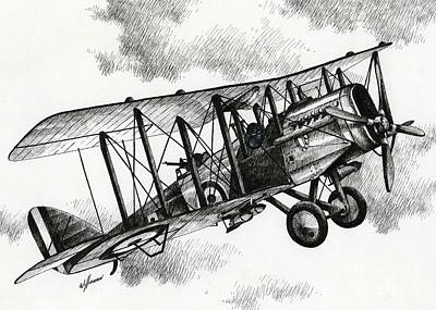 Aviators Drawing - De Havilland Airco Dh.4 by James Williamson