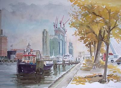 De Maas At Kop Van Zuid Original by Dick Carlier