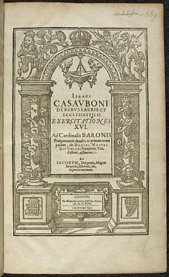 Book Title Photograph - De Rebus Sacris Et Ecclesiasticis by British Library