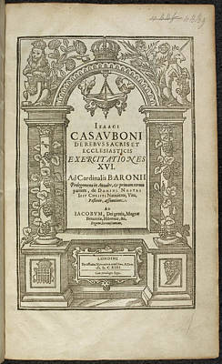 Xvi Photograph - De Rebus Sacris Et Ecclesiasticis by British Library