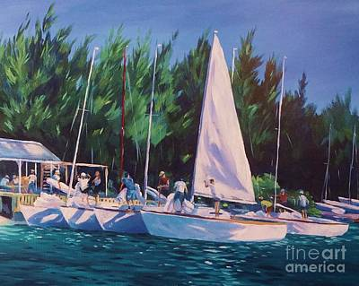 Yacht Club Painting - De-rigging   by John Clark