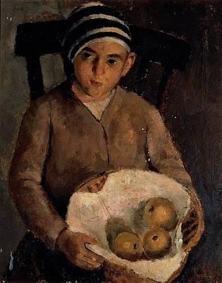De Robertis Roberto, Child With Fruit Art Print by Everett