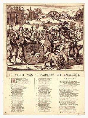 Religious Artist Drawing - De Vlugt Van T Pausdom Uit Engelant, Hooghe by English School