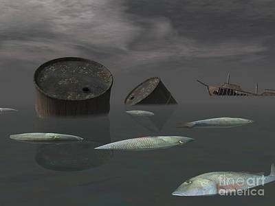 Destruction Digital Art - Dead Fish And Oil Tanks In Polluted by Elena Duvernay