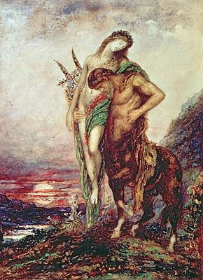 Dead Poet Borne By Centaur Print by Gustave Moreau